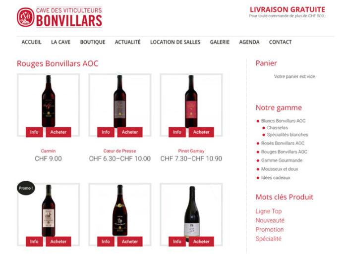 Boutique en ligne de la Cave des viticulteurs de Bonvillars